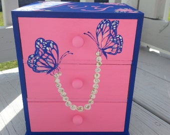 custom personalized jewelry box, blue and pink,flower girl gift, bridesmaid gift