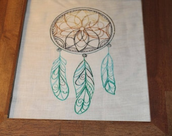 Made To Order 8x10 Dream Catcher Embroidery on white linen