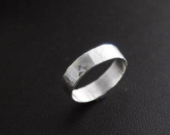 Sterling Silver Hammered Band Ring, Hammered Ring, Hammered Sterling Silver Ring, Handmade Sterling Silver Ring, Womens Silver Ring