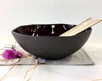 Ceramic bowl, Black bowl, Large bowl, Open bowl, Centerpiece bowl, Modern bowl, Fruit bowl, salad bowl, wedding gift, housewarming gif