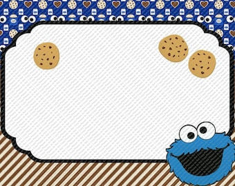 Sesame Street Cookie Monster Editable Party Invitation Template Birthday Baby Shower Invite You Edit or I Can Edit For you With Add Listing