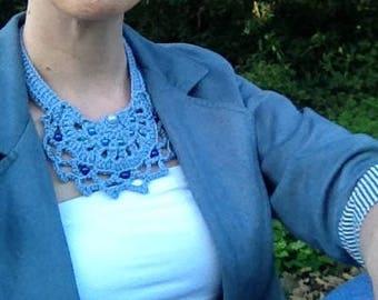 Blue bib necklace / blue crochet necklace