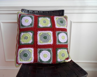 Crochet pillow, handmade square crochet pillow, grey, lavender and green crochet by ILoveCrochetByAnna, READY TO SHIP