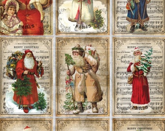9 Vintage Santa Claus - 9 Printable ATC Cards Digital Collage Sheet - Ideal for Scrapbooking