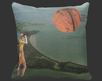 "Accent Throw Pillow - ""The Floridian"" Collage Print - 16x16"