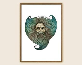 "Surf Art Print - Ocean Art - Sea Art - ""Made of The Sea"""