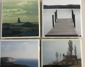 Set of 4 handmade photo ceramic coasters of Michigan lighthouses and Lake Michigan