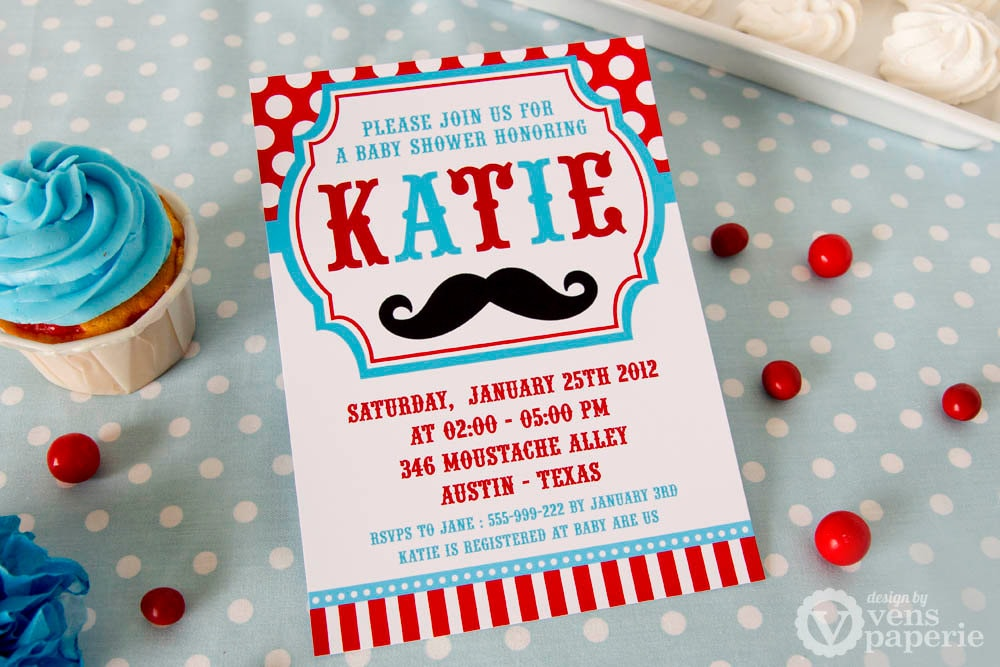DIY PRINTABLE Invitation Card Little Man Mustache Red Blue