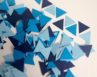Wedding Party table confetti, geometric blue triangles