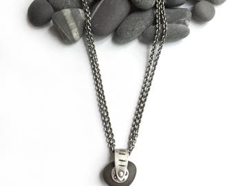 Almost Black Natural Lake Erie Beach Stone Sterling Silver Pendant on Double Cable Chain Dots Circles Lines Stamped Rotates Kinetic Gizmo 2