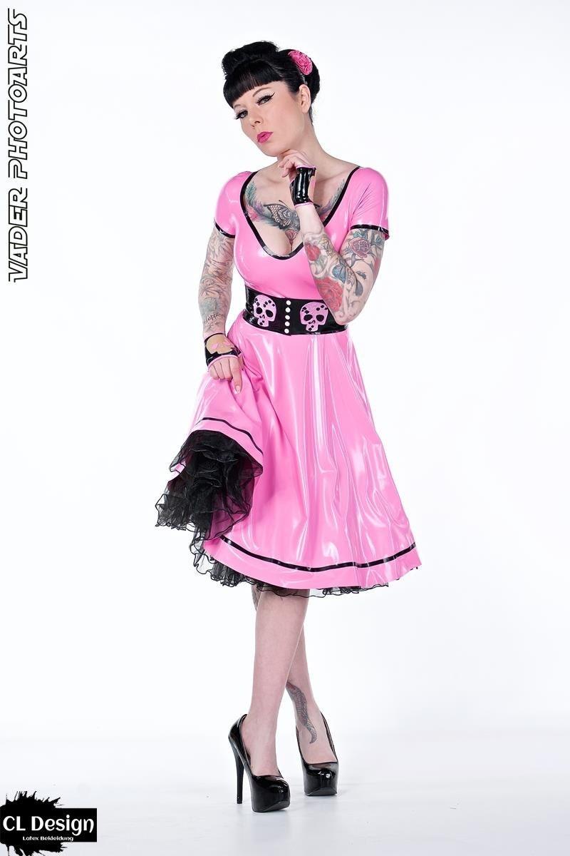 Latex Kleid Swinging Skull Totenkopf Fiftie\'s
