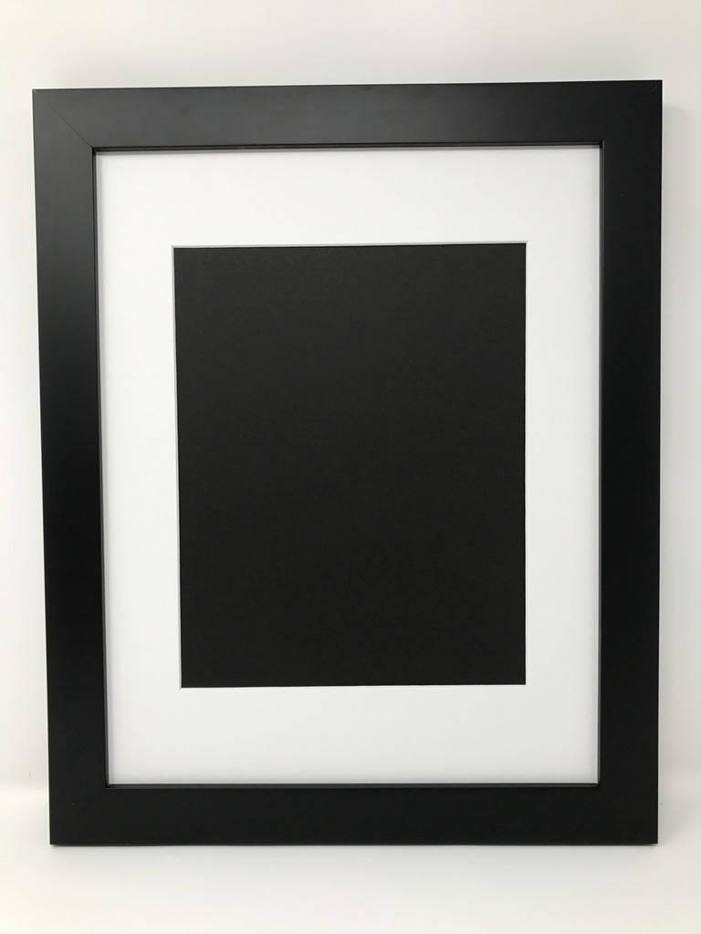 11 x 14 1.25 negro marco con for8.5x11 blanco Mat corte