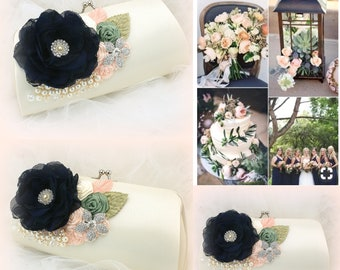 Wedding Clutch Bag Ivory Peach Navy Blue Green Vintage Style Bridal Clutch Purse Handbag Elegant Wedding Gift