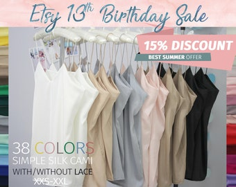 Classic Women's Simple Silk Lace Top, Satin Blouse, Tops Sleeveless Vest Tank Camisole, Silk Tank Top, Silk Blouse Bridesmaids white Cami