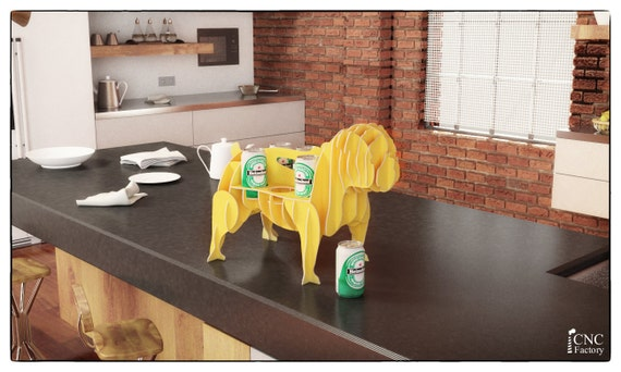 BULLDOG BEER CADDY Template cutting file Dog storage