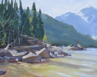 Original Jenny Lake Yellowstone oil painting, Southwest landscape art,wall decor, home decor, Rocky Mountain landscape painting,mountain art