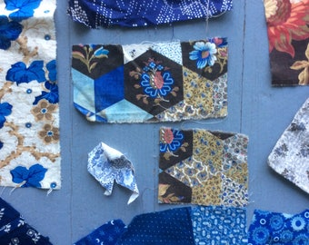 Beautiful Antique Blue Fabric Pieces and Assorted Period Prints