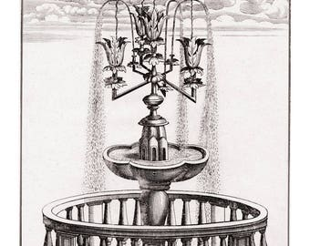 Garden Water Fountain Print. Garden Water Feature. Ornate Garden From 1664 Original Antique Engraving. Landscape Stately Home Design