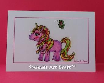 Kids birthday cards/cute cards/hand drawn cards/unicorn