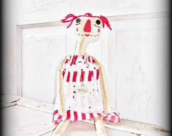 Primitive Folk Art Raggedy Annie Doll