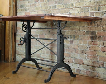 Vintage Restored Cast Iron Drafting Table By Frederick Post