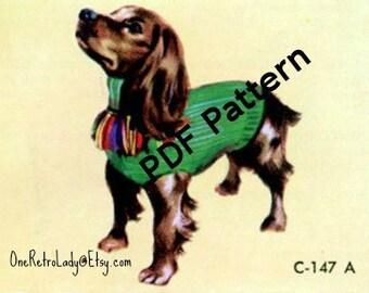 Dog Sweater Knit Pattern, Vintage 1952, 2 sizes, Little Dog Blanket, PDF Instant, Digital Download
