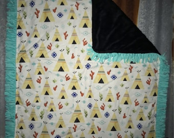 Teepees/Cactus and Turquoise Fringe Baby Blanket