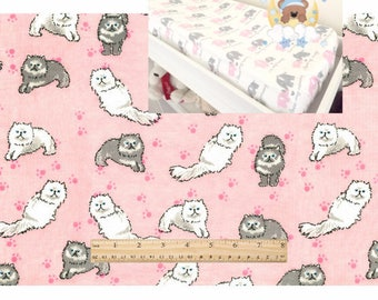 Cats Flannel Contoured Changing Pad Cover 100% Cotton Kitty Nursery Baby Girl Changing Pad Covering Crib Sheet