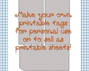 "Printable Manila Tags Size 7 Template 0020 - 2.87""x5.75"" - DIY Digital Template in Photoshop Format - Commercial Use OK - Instant Download"