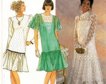 A Drop-Waist, Long/Short Sleeve, Lace-Trimmed Full Skirt Dress with Slip Pattern for Women: Uncut - Sizes 10-12-14-16-18 • Simplicity 7056