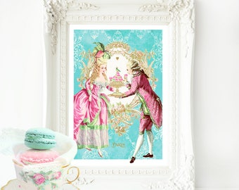 Marie Antoinette, French art print, vintage decor, romantic, baroque couple, let them eat cake, A4 giclee