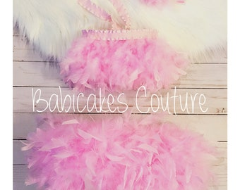 Full Feather Bloomer, Feather Crop Top, Feather Birthday Outfit, Feather Tutu, 1st Birthday Girl Outfit, Pink Feather Dress, Feather Outfit