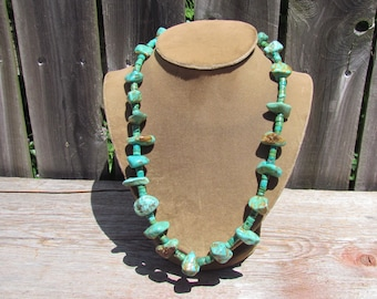 Vintage 22 Stone Turquoise Fat Heishi Necklace, Native American Necklace