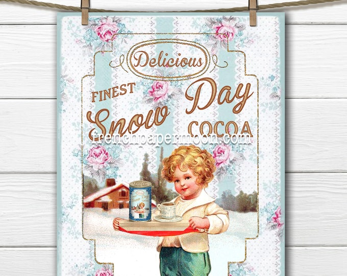 Shabby Chic Vintage Christmas Label Digital, Hot Chocolate Ad, Cocoa, Christmas Collage, Christmas Pillow, Christmas Crafts