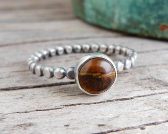 Tiger eye Ring, Sterling Silver Dotted Band, Stacking Ring, Womens Jewelry, Brown Stone,