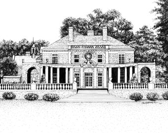 CUSTOM HOME PORTRAIT, Pen & Ink Sketch of a Home, Building or Church from Your Reference Photos, Realtor Closing Gift, Gift Certificate