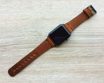 Apple watch band Series 1 2 3 , 42mm, 38mm, Leather watch band, iwatch band, Apple watch leather band - Brown Color - Made in USA