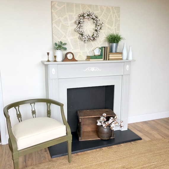 Grey Fireplace Mantel with Faux Wood insert - Antique Fireplace Surround Federal Style 1930s Living Room Furniture Rustic Vintage Fireplace