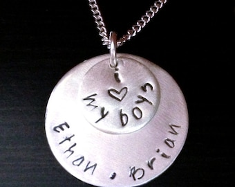 I Love My Boys - Hand Stamped Jewelry- Mommy Gift- New mom- Sterling Silver