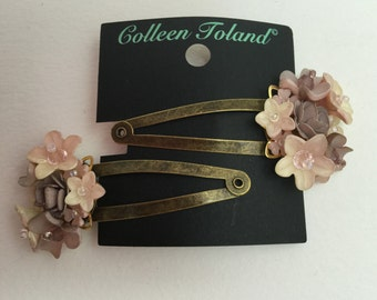 SWEETHEART SNAP CLIPS in Heather Purple, Vintage Inspired Hand beaded Flower Clip by Colleen Toland