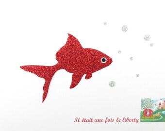Applied fusible fish red glitter flex patch iron fish design iron on glittery fabrics applique fish goldfish