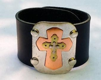 Layered Cross Cuff Bracelet