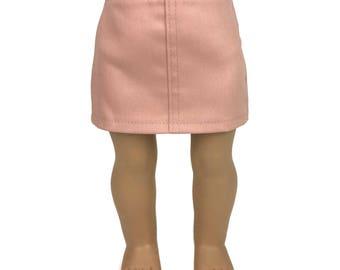 "Blush Pink Stretch Denim Skirt - Doll Clothes fits 18"" American Girl Dolls"