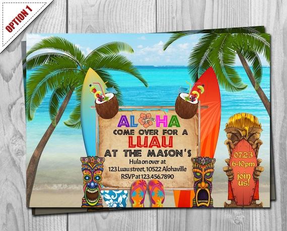 Luau Invitation - Luau Invite - Luau Party - Hawaii Invitation - Hawaii Party - Hawaii Invite - Tropical Invitation - Exotic Invite - Luau