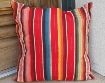 "Southwestern Pillow Cover 16"" x 16"" to 24"" x 24"".  Sturdy, soft, woven free trade cotton fabric."