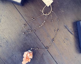 Flame Colored Aragonite Silver Soldered Necklace