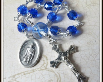 Blue Awareness Ribbon St. Peregrine Rosary, Colon Cancer Rosary