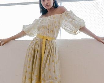 Rare Original 1940s printed twill cotton day dress balloon sleeves