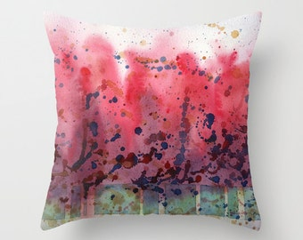 Tulip Trees Watercolor Throw Pillow Cover