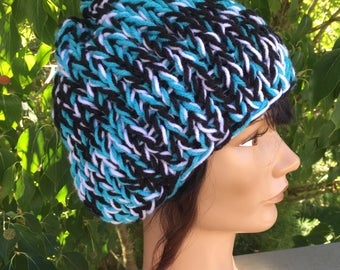 Carolina panthers Inspired Knit chunky hat, panthers hat, womens hat, womens carolina hat, winter hat, knit hat, womens hat, football hat